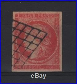 France Stamp 7 Ceres 1 Franc Vermillon Reimpression Ancienne Oblitere Tb T036