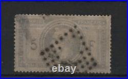 France Stamp Timbre 33 Napoleon III 5f Violet Gris Oblitere A Voir R393