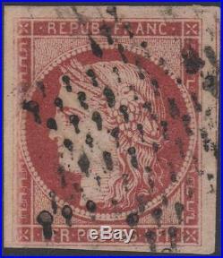 France Stamp Timbre N° 6 Ceres 1f Carmin 1849 Oblitere Signe A Voir