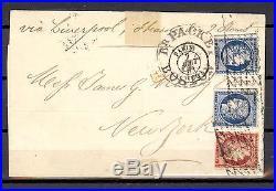 France belle lettre avec Yvert 6 et 2 x Yvert 4. Enorme cote