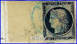 France cérès 20 c noir n°3 BDF oblitéré cad bleu du 3 janv 1849 sur lettre