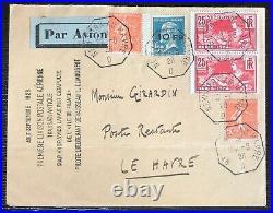 France lettre Poste aerienne n°4 par catapulte paquebot ile de France n°4 faux