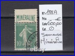 France, magnifique semeuse Minéraline n° 188A, oblitéré luxe cote 600,00