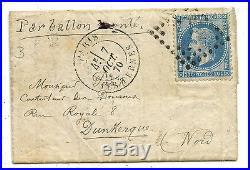 Frankreich Ballon Monte Brief Paris Dunkerque 1870