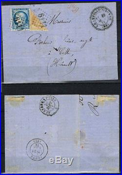 Frankreich MiNr. 34 & Halbierung auf Brief lettre Campigny sur Yonne 18715813