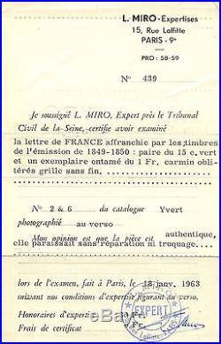 Frankreich PD Brief Paris Boston New Orleans USA 1851