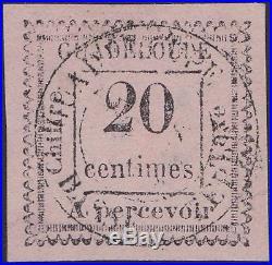 GUADELOUPE Taxe n°9a oblitéré (2 penché) Cote 1000 RARE (tirage 100ex.)
