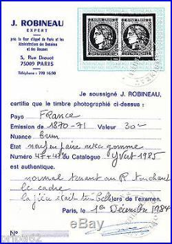 K1498 TIMBRE DE FRANCE N° 47 et 47e en Paire Neufs Signé