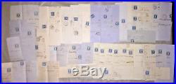 LOT 41 LETTRES Empire non dentele 20c BLEU, cachet a date type 22 perlé c. 1860