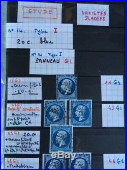 LOT #56 FRANCE CLASSIQUE collection étude sur le timbre n°14 Empire non dentelé