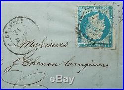 LOT 5 20 c bleu Napoléon n° 14 variété piquage Clamecy  sur lettre
