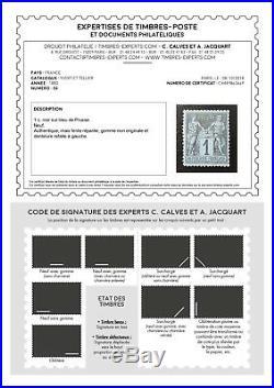 LOT ÉTOILE-32 FRANCE timbre n°84 bleu de Prusse neuf signé et certificat Calves
