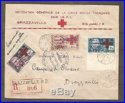 Lettre Cover Aef Croix Rouge France Libre 1943 Frankreich Kolonie Colonie Ffl