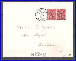 Lettre France Frankreich Guerre 07/07/1940 Ww2 Poche Dunkerque Signe Roumet