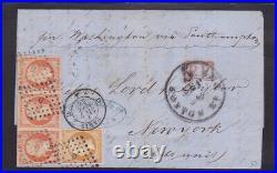 Lettre Timbre Napoléon n° 13B + Band 3 N° 16 oBlit. Paris/NewYork- Signée ROUMET