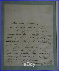 Lettre d'Anatole France signée avec l'enveloppe timbrée et datée de 1870