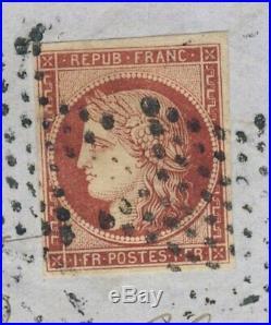 Lettre spectaculaire avec joli Ceres 1F de 1853 de Paris pour Vouziers