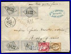Lot N°8009 France N°33 x 2ex. + 40c et 80c Cérès s/devant de lettre chargée TB