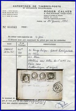 Lot N°8218 FRANCE N°40Ba en paire, N°39B + N°37 sur petite lettre RARE Affrt