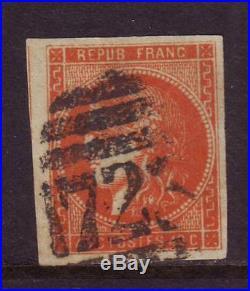 Maury n°48c, orange foncé, obli grille anglaise Southampton, signé Roumet, TTB
