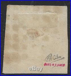 N°18 Napoléon 1fr Carmin oblitéré gros points 1853 aminci Signé Calves