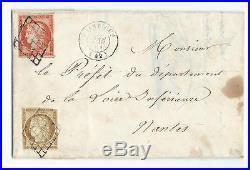 N°1 + 5 Grille Paimboeuf Loir Inferieure 1851 Nantes Signe Calves Lettre