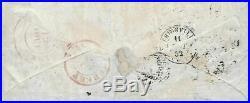 N°1 Cérès 10 c bistre 2 paires une ob cachet 1852 lettre pour Luxembourg Belge