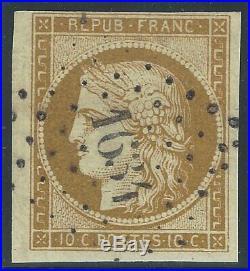 N°1 Cérès 10c Bistre oblitéré PC 1634 1er choix 1850 Signé Calves