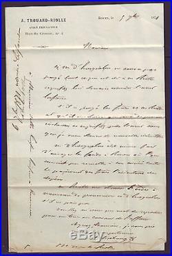 N° 25+26x2+37 Sur Lettre De Rouen Pour Envermeu, Affrt Sept 1871, Signee Roumet