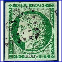 N°2 TYPE CERES 15c. VERT, TIMBRE OBLITERE 1850 SIGNÉ CALVES