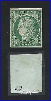 N°2 Vert Fonce Variete Tache Derriere La Tete Signe Roumet Timbre Stamp France