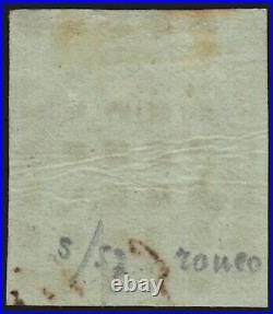 N°2b, Cérès 1850, 15c vert-foncé, oblitéré gros points B/TB