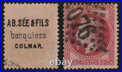 N°32 publicité AB SEE au verso, Napoléon Lauré 80c rose, signé A. BRUN TB
