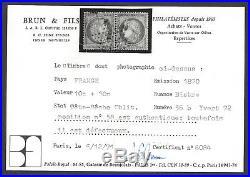 N°36b Cérès 10c bistre Paire Tête-bêche oblitérée étoile 2nd choix Certificat