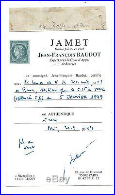 N°3 Bande De 5 Du 5 Janvier 1849 Cad Type 15 Toul Meurthe Timbre Stamp France