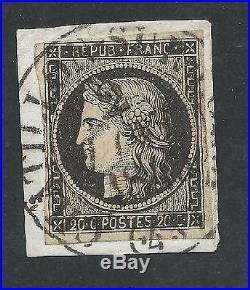N°3 Cad Type 13 Du 2 Janvier 1849 Chatillon Sur Loire Loiret Timbre Stamp France