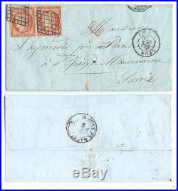 N°5 PAIRE LYON 1850 ST JEAN MAURIENNE SAVOIE ETAT SARDE LETTRE COVER ITALIA
