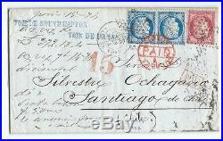 N°60 Paire 57 Paris Gare Du Nord Santiago Chili Chile Southampton Panama Lettre