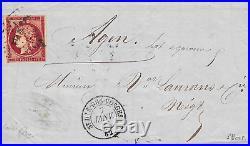 N°6d 1 franc magnifique nuance cerise oblitéré pc sur lettre du 7 janv 1853
