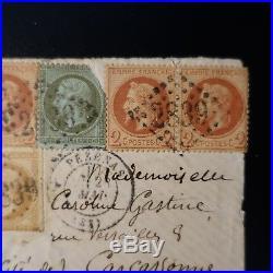 Napoléon N°19/26/28 Sur Lettre Tricolore Cover Gc 2839 Pezenas Carcassonne