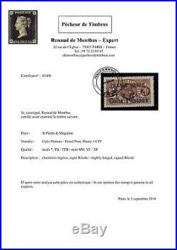 P81408 / St Pierre & Miquelon / Parcel Post / Maury # 5 Mh Certificat 1400