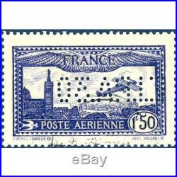 PA N°6c AVION SURVOLANT MARSEILLE, TIMBRE PERFORÉ DE L'EXPOSITION DE 1930