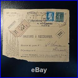 Pasteur N°176 (variété) + Semeuse N°130 Type VI Roulette 1923 Devant De Lettre