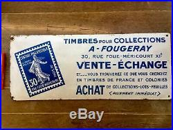 Plaque emaillee pub 1930 Timbre Philatélie Folie Mericourt Paris XI bombée