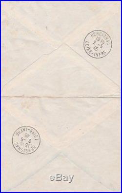 Poche de Saint-Nazaire, les 50c et 2frs sur lettres du 02/05/45, 3 scans