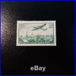 Poste Aérienne Pa N°14 Avion Survolant Paris Neuf Petit Point Clair Cote 1000