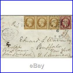 Présidence N°9 bande de 3 et Empire N°18 oblitérés sur enveloppe pour Buffalo, T