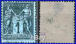++ RARISSIME SAGE N°84, 1c BLEU PRUSSE Oblitéré Signé! Cote 6000 euros ++