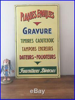 Rare Plaque Emaillée Imprimerie Gravures Timbres