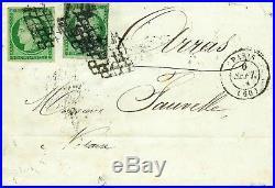 Rarissime n°2 ceres 15 c vert 2 u ob grille sur lettre cad Paris T15 du 6 sept